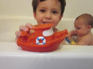 Bath Time for the messy boys!